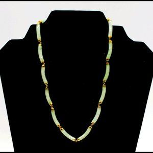 """Jade Necklace with 14K Yellow Gold Links - 17.5"""""""